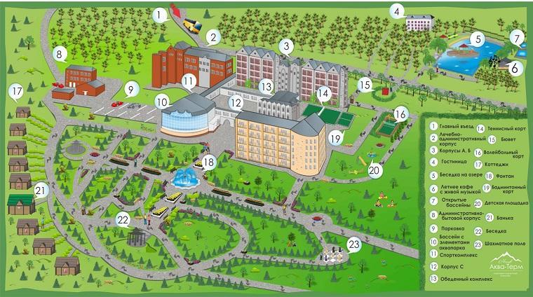 Карта санатория Железноводска «Машук Аква-Терм»